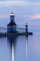 A serene view of Lake Michigan and the St. Joseph lighthouse