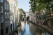 Waterside houses on Oudegracht canal in central Utrecht, Netherlands