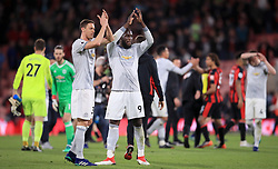 Manchester United's Romelu Lukaku (centre) and Nemanja Matic (left) applaud the fans after the Premier League match at the Vitality Stadium, Bournemouth.