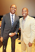 May 19, 2012 -New York, NY-United States: (L-R) Kevin Powell and Dr. Khalil Gibran Muhammad attend the Question Bridge: Black Male Blue Print Round Table moderated by Dr. Khalil Gibran Muhammad and hosted by Kevin Powell and held at the Iris and B.Gerald Cantor Auditorium in the Brooklyn Museum on May 19, 2012 in Brooklyn, New York. Question Bridge: Black Males is a transmedia art project that seeks to represent and redefine Black male identity in America. Question Bridge: Black Males was created by Chris Johnson and Hank Willis Thomas in collaboration with Bayeté Ross Smith and Kamal Sinclair. The Executive Producers are Delroy Lindo, Deborah Willis and Jesse Williams. (Photo by Terrence Jennings)