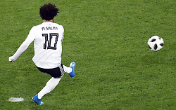 Egypt's Mohamed Salah scores his side's first goal of the game from the penalty spot during the FIFA World Cup 2018, Group A match at Saint Petersburg Stadium.