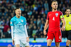 Josip Ilicic of Slovenia annd Jordan Henderson of England during football match between National teams of Slovenia and England in Round #3 of FIFA World Cup Russia 2018 qualifications in Group F, on October 11, 2016 in SRC Stozice, Ljubljana, Slovenia. Photo by Grega Valancic / Sportida