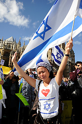 © Licensed to London News Pictures. 13/09/2011. Westminster, London, UK. Stand For Israel Protest at Old Palace Yard,Westminster, London (today 13.09.2011) Christian people from all over the UK protesting outside Westminster this afternoon, making a stand for Israel against the UN resolution to create a palestinian state. Photo credit : Grant Falvey/LNP
