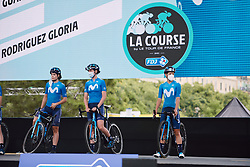 Movistar Women's Team on stage at the 2020 La Course By Le Tour with FDJ, a 96 km road race in Nice, France on August 29, 2020. Photo by Sean Robinson/velofocus.com
