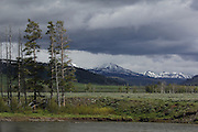 Stormy skies over Lamar Valley, in the north-east corner of Yellowstone National Park, Wyoming