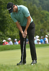 August 12, 2018 - St. Louis, Missouri, U.S. - ST. LOUIS, MO - AUGUST 12: Patrick Cantlay putts on the #1 green during the final round of the PGA Championship on August 12, 2018, at Bellerive Country Club, St. Louis, MO.  (Photo by Keith Gillett/Icon Sportswire) (Credit Image: © Keith Gillett/Icon SMI via ZUMA Press)