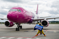 June 13, 2017 - Gdansk, POLAND - Wizz air airplane is seen in Gdansk, Poland on 13 June 2017  First WizzAir airplane from Kyiv to Gdansk landed on Lech Walesa airport in Gdansk. The visa-free regime for Ukraine has started on June 11th. The arrangement allow Ukrainians with biometric passports to enter all EU member states other than Britain and Ireland for up to 90 days every six months for tourism or to visit family and friends. (Credit Image: © Michal Fludra/NurPhoto via ZUMA Press)