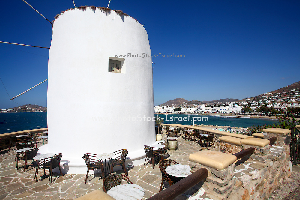 Traditional windmill on Paros, a small Greek island in the southern Aegean, at the heart of the Cyclades