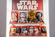 Star Wars collectables and talking soft toys on the Underground Toys Stand - The annual London Toy Fair, the trade show for the toy and games industry, takes place at Olympia.