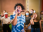 12 JUNE 2020 - DES MOINES, IOWA: CHARLES, (first name only) leads a chant  with Black Lives Matter protesters in front of the Governor's Reception Room in the Iowa capitol. About 75 activists from Black Lives Matter came to the Iowa State Capitol in Des Moines Friday to talk to Iowa Governor Kim Reynolds. They've been trying to meet with Gov. Reynolds all week. She made time for them Friday and met with 5 representatives of the organization without any media in the room. They wanted to talk to her about police violence against African-Americans and racial disparities in Iowa's justice system. While the 5 met with the Governor, the remaining activists picketed the hall in front of her office and chanted.     PHOTO BY JACK KURTZ