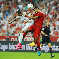 05.08.2015, Allianz Arena, Muenchen, GER, AUDI CUP, FC Bayern Muenchen vs Real Madrid, im Bild vl. Isco (Real Madrid) und Mehdi Benatia FC Bayern Muenchen) im Kopfballduell // during the 2015 Audi Cup Match between FC Bayern Munich and Real Madrid at the Allianz Arena in Muenchen, Germany on 2015/08/05. EXPA Pictures © 2015, PhotoCredit: EXPA/ Eibner-Pressefoto/ Stuetzle<br /> <br /> *****ATTENTION - OUT of GER*****