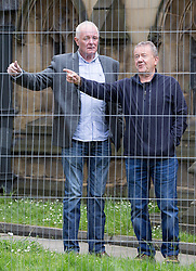 © Licensed to London News Pictures . 30/05/2015 . Manchester , UK . Bruce Jones (l) outside the cathedral before the service  . A public memorial for Coronation Street actress Anne Kirkbride at Manchester Cathedral , who died on 19th January 2015 . Photo credit : Joel Goodman/LNP