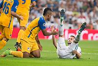 Real Madrid's Nacho Fernandez and Apoel's Lorenzo Ebecillo during UEFA Champions League match between Real Madrid and Apoel at Santiago Bernabeu Stadium in Madrid, Spain September 13, 2017. (ALTERPHOTOS/Borja B.Hojas)
