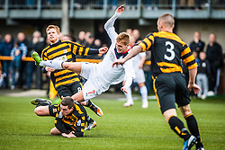 Falkirk's Jay Fulton tackled by Alloa Athletic's Jason Marr.<br /> Alloa Athletic 0 v 0 Falkirk, Scottish Championship 12/10/2013. played at Recreation Park, Alloa.<br /> ©Michael Schofield.