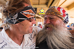 Jay Allen and Panhead Billy after the annual Michael Lichter - Sugar Bear Ride hosted by Jay Allen from the Easyriders Saloon during the Sturgis Black Hills Motorcycle Rally. SD, USA. Sunday, August 3, 2014. Photography ©2014 Michael Lichter.