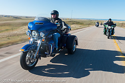 Dick Turnwall of Rapid City and a member of the American Legion Riders Post 22 on his 2017 Harley-Davidson Tri-Glide for the USS South Dakota submarine flag relay across South Dakota on the first day from Sturgis to Aberdeen. SD. USA. Saturday October 7, 2017. Photography ©2017 Michael Lichter.