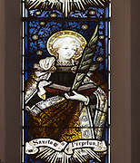 Mary Anne Garrett Memorial stained glass window  female martyrs 1897, Church of Saint Margaret, Leiston, Suffolk, England, UK Saint Perpetua by C.E. Kempe ( 1837-1907)