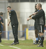 Photo: Aidan Ellis.<br /> Rochdale v Wycombe Wanderers. Coca Cola League 2. 16/09/2006.<br /> Wycombe's manager gives out instructions