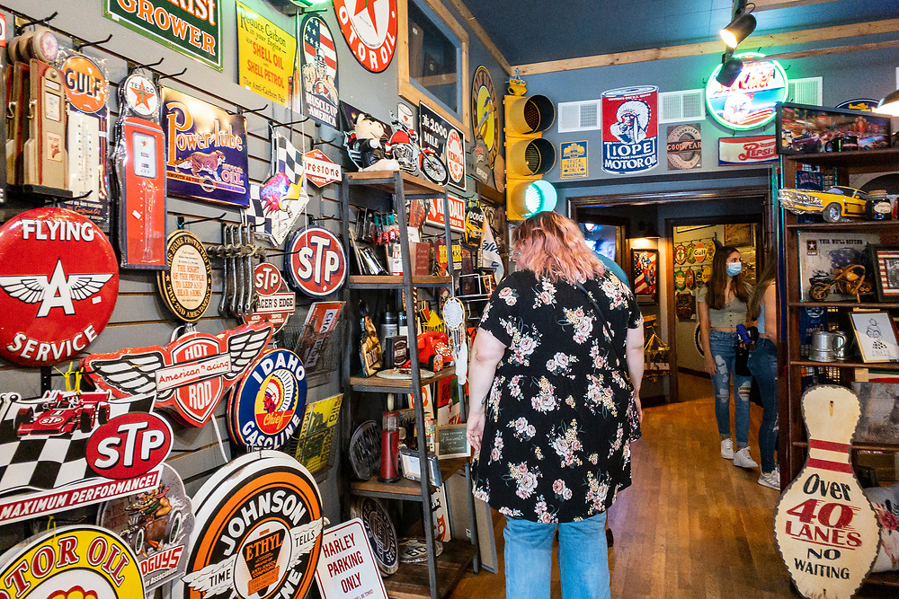 The Station on Main, a local store with vintage signs, in downtown Waynesville, North Carolina on Friday, August 14, 2020. Copyright 2020 Jason Barnette