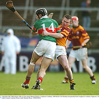 2 December 2007; Mark Quinn, Tulla, in action against Michael Webster, Loughmore Castleiney. AIB Munster Club Hurling Championship Final, Loughmore-Castleiney, Tipperary v Tulla, Clare, Gaelic Grounds, Limerick. Picture credit; Brendan Moran / SPORTSFILE