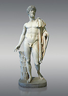 Roman staue of Lucius Verus with the idealised body of Diomedes, AD 160-170, inv 6095, Naples National Archaeological Museum, grey background.<br /> <br /> If you prefer to buy from our ALAMY STOCK LIBRARY page at https://www.alamy.com/portfolio/paul-williams-funkystock/greco-roman-sculptures.html . Type -    Naples    - into LOWER SEARCH WITHIN GALLERY box - Refine search by adding a subject, place, background colour, etc.<br /> <br /> Visit our ROMAN WORLD PHOTO COLLECTIONS for more photos to download or buy as wall art prints https://funkystock.photoshelter.com/gallery-collection/The-Romans-Art-Artefacts-Antiquities-Historic-Sites-Pictures-Images/C0000r2uLJJo9_s0