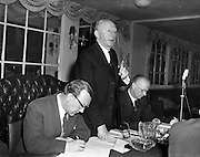 17/04/1960<br /> 04/17/1960<br /> 17 April 1960<br /> G.A.A. Annual Congress in Dublin. The Annual Congress of the G.A.A. was held at the Gresham Hotel, Dublin. Picture shows Padraig O'Caoimh (second from left) Secretary  of theG.A.A., speaking on a motion to Congress. Dr. J.J. Stuart, (right) who was returned as President unopposed and Sean O Siochain, (left) Assistant Secretary are also featured.