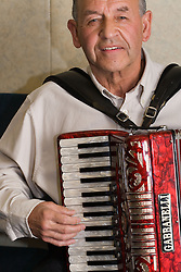 Man playing accordion,