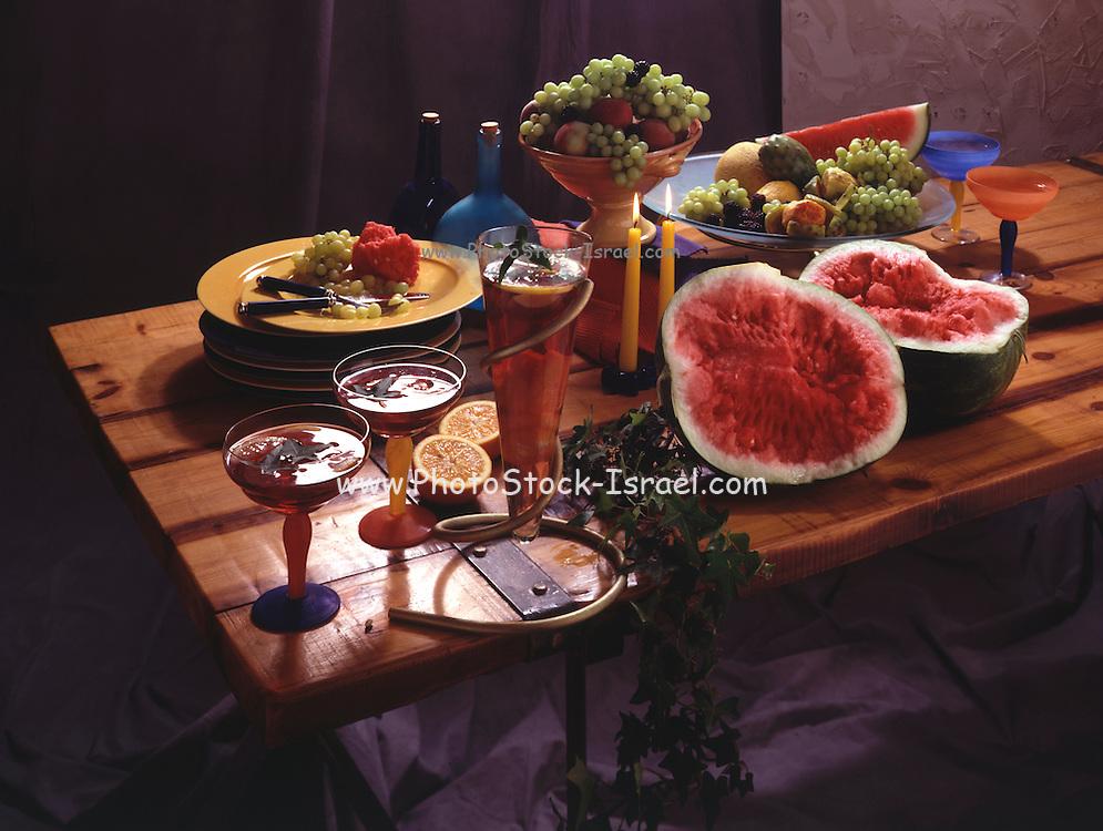 Fruit still life on wooden table
