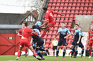 Swindon Town forward Sol Pryce (9) heads the ball  at goal during the The FA Cup 2nd round match between Swindon Town and Woking at the County Ground, Swindon, England on 2 December 2018.