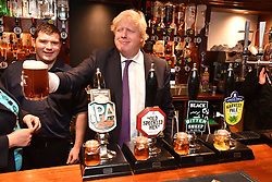 May 16, 2017 - Nottingham, United Kingdom - The foreign secretary BORIS JOHNSON campaigning  at The Peacock Pub in Nottingham for the 2017 General Election.  (Credit Image: © Andrew Parsons/i-Images via ZUMA Press)