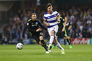Queens Park Rangers defender Grant Hall (4) during the EFL Sky Bet Championship match between Queens Park Rangers and Brighton and Hove Albion at the Loftus Road Stadium, London, England on 7 April 2017.