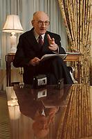 20 JAN 2001, BERLIN/GERMANY:<br /> Wladyslaw Bartoszewski, Aussenminister Polen, waehrend einem Interview, Hotel Four Seasons<br /> Wladyslaw Bartoszewski, Minister for Foreign Affairs of Poland, during an Interview<br /> IMAGE: 20010120-01/01-11<br /> KEYWORDS: Außenminister