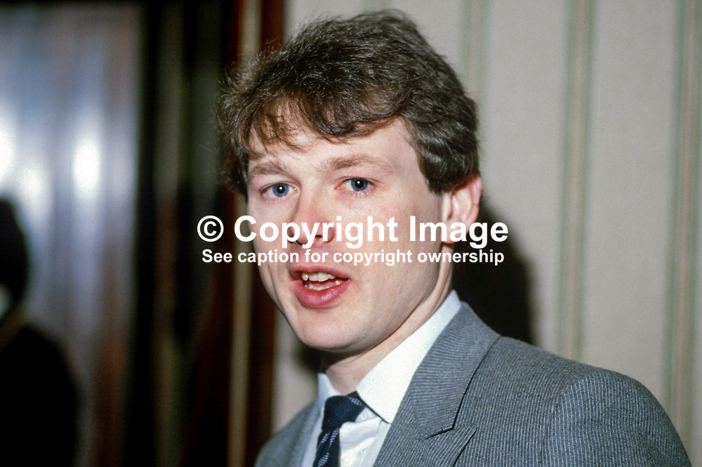 Stephen Eastwood, boxing promoter, Belfast, N Ireland, UK, son of Barney Eastwood, also a boxing promoter and founder of Eastwood chain of betting shops. 19840042SE2.<br /> <br /> Copyright Image from Victor Patterson, Belfast, UK<br /> <br /> t: +44 28 9066 1296 (from Rep of Ireland 048 9066 1296)<br /> m: +44 7802 353836<br /> e: victorpattersonbelfast@gmail.com<br /> <br /> www.images4media.com<br /> <br /> Please see my full Terms and Conditions of Use at https://www.images4media.com/p/terms-conditions - it is IMPORTANT that you familiarise yourself with them.<br /> <br /> Images used online incur an additional cost. This cost should be agreed in writing in advance. Online images must be visibly watermarked i.e. © Victor Patterson or that of the named photographer within the body of the image. The original metadata must not be deleted from images used online.<br /> <br /> This image is only available for the use of the download recipient i.e. television station, newspaper, magazine, book publisher, etc, and must not be passed on to a third party. It is also downloaded on condition that each and every usage is notified within 7 days to victorpattersonbelfast@gmail.com.<br /> <br /> The right of Victor Patterson (or the named photographer) to be identified as the author is asserted in accordance with The Copyright Designs And Patents Act (1988). All moral rights are asserted.