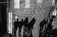 France. Paris 18th. people shadows in Montmartre stairs, near Rue la Vieuville / ombres des passants a Montmartre.