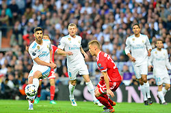 May 2, 2018 - Madrid, Spain - MADRID, SPAIN. May 1, 2018 - Marco Asensio kicks the ball. With a 2-2 draw against Bayern Munchen, Real Madrid made it to the UEFA Champions League Final for third time in a row. Kimmich and James scored for the german squad while Karim Benzema did it twice for los blancos. Goalkeeper Keylor Navas had a great night with several decisive interventions. (Credit Image: © VW Pics via ZUMA Wire)