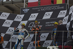 June 3, 2018 - Mugello, Italy, Italy - 44Miguel OLIVEIRAPORRed Bull KTM AjoKTM , 07Lorenzo BALDASSARRI Pons HP40Kalex , 36Joan MIR EG 0,0 Marc VDSKalex  podium Moto2 during Race MotoGP  at the Mugello International Cuircuit for the sixth round of MotoGP World Championship Gran Premio d'Italia Oakley on June 3, 2018 in Scarperia, Italy  (Credit Image: © Fabio Averna/NurPhoto via ZUMA Press)