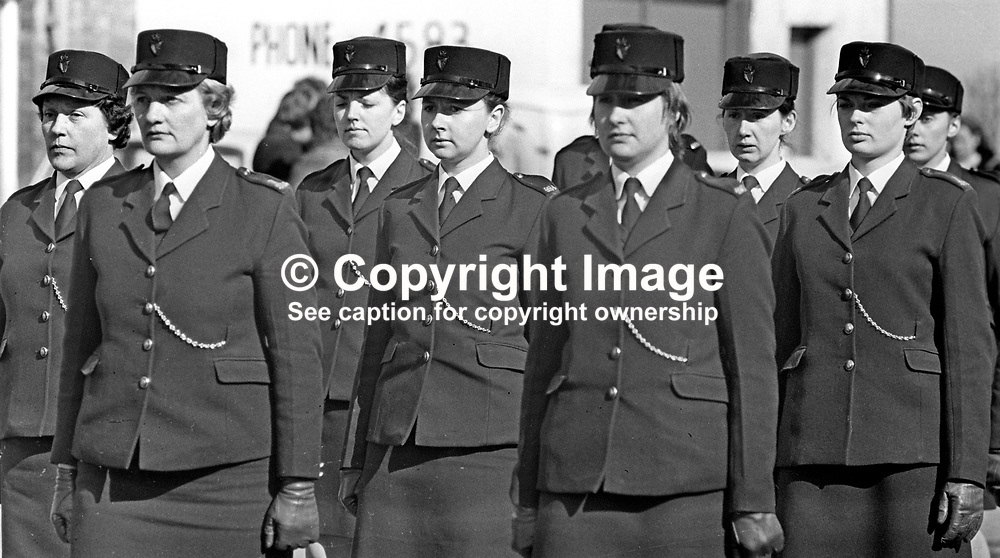 Woman colleagues attend the funeral in Bangor, Co Down, N Ireland, of Reserve Policewoman Mildred Harrison. Mildred, married with two children, was the first policewoman to die in the Troubles. The funeral was headed by the RUC Band. Mildred was passing the Ormeau Arms, in the High Street when a UVF bomb exploded there. It was the second UVF bomb attack on the Roman Catholic-owned premises. 197505190341a<br /> <br /> Copyright Image from Victor Patterson, Belfast, UK<br /> <br /> t: +44 28 9066 1296 (from Rep of Ireland 048 9066 1296)<br /> m: +44 7802 353836<br /> e: victorpattersonbelfast@gmail.com<br /> <br /> www.images4media.com<br /> <br /> Please see my full Terms and Conditions of Use at https://www.images4media.com/p/terms-conditions - it is IMPORTANT that you familiarise yourself with them.<br /> <br /> Images used online incur an additional cost. This cost should be agreed in writing in advance. Online images must be visibly watermarked i.e. © Victor Patterson or that of the named photographer within the body of the image. The original metadata must not be deleted from images used online.<br /> <br /> This image is only available for the use of the download recipient i.e. television station, newspaper, magazine, book publisher, etc, and must not be passed on to a third party. It is also downloaded on condition that each and every usage is notified within 7 days to victorpattersonbelfast@gmail.com.<br /> <br /> The right of Victor Patterson (or the named photographer) to be identified as the author is asserted in accordance with The Copyright Designs And Patents Act (1988). All moral rights are asserted.