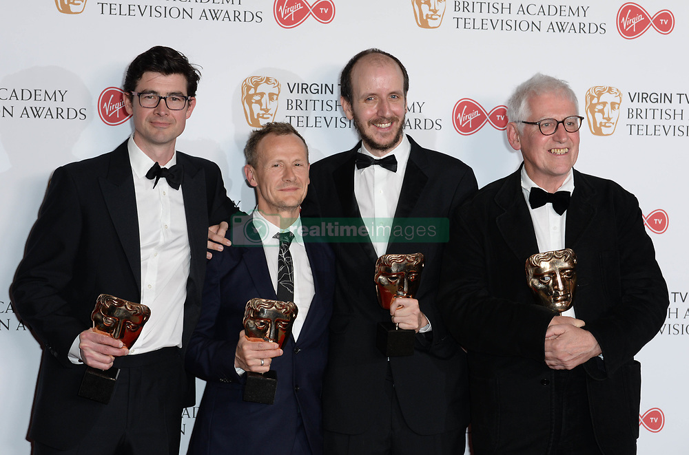 George Ormond, Marc Munden, Jack Thorne and John Chapman, winners of the Mini Series award for 'National Treasure', in the winners photo area at the Virgin British Academy Television Awards (BAFTA) held at the Royal Festival Hall, Southbank, London. Photo credit should read: Doug Peters/ EMPICS Entertainment