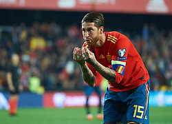 March 23, 2019 - Valencia, Valencia, Spain - Sergio Ramos of Spain national team celebrates a goal during the European Qualifying round Group F match between Spain and Norway at Estadio de Mestalla, on March 23 2019 in Valencia, Spain  (Credit Image: © Maria Jose Segovia/NurPhoto via ZUMA Press)