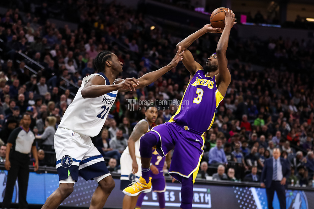 Feb 15, 2018; Minneapolis, MN, USA; Los Angeles Lakers forward Corey Brewer (3) during a game between the Minnesota Timberwolves and Los Angeles Lakers at Target Center. Mandatory Credit: Brace Hemmelgarn-USA TODAY Sports