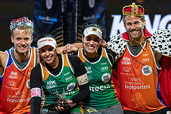 """Florian Breer SUI, Eduarda Santos Lisboa """"Duda"""" BRA, Agatha Bednarczuk BRA, Marco Krattiger SUI during the ceremony on the last day of the beach volleyball event King of the Court at Jaarbeursplein on September 12, 2020 in Utrecht."""