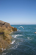 Young people rock diving into Dublin Bay at Sandycove on 08th April 2017 in County Dublin, Republic of Ireland. Sandycove is a popular seaside resort in County Dublin