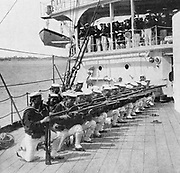 Japanese marines drilling on board the warship 'Mikasa'