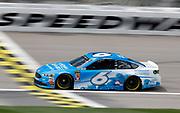 NASCAR Cup Series driver Matt Kenseth (6) crosses the start, finish line during a practice run at Kansas Speedway in Kansas City, Kan., Friday, May 11, 2018. (AP Photo/Colin E. Braley)