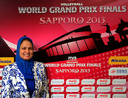 27-08-2013 VOLLEYBALL: WORLD GRAND PRIX FINAL6: SAPPORO<br /> General Technical meeting and press conference / Ms. Howyda Mondy, FIVB member<br /> ©2013-FotoHoogendoorn.nl
