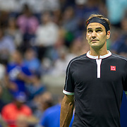 2019 US Open Tennis Tournament- Day Nine.  Roger Federer of Switzerland during his match against Grigor Dimitrov of Bulgaria in the Men's Singles Quarter-Finals match on Arthur Ashe Stadium during the 2019 US Open Tennis Tournament at the USTA Billie Jean King National Tennis Center on September 3rd, 2019 in Flushing, Queens, New York City.  (Photo by Tim Clayton/Corbis via Getty Images)