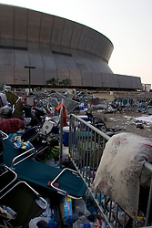 03 Sept  2005. New Orleans, Louisiana. Post hurricane Katrina.<br /> Remnants of thousands of evacuees lie discarded outside the Superdome following the mass evacuation of the city.<br /> Photo; ©Charlie Varley/varleypix.com