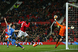 Manchester United's Romelu Lukaku scores his side's first goal of the game