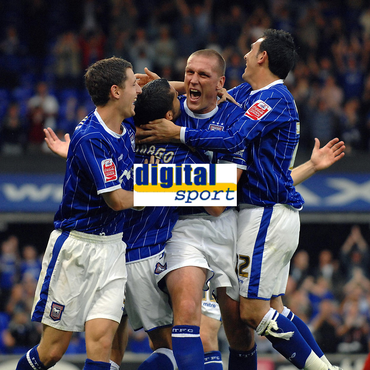 Photo: Ashley Pickering.<br /> Ipswich Town v Coventry City. Coca Cola Championship. 22/09/2007.<br /> Pablo Counago (second L) is mobbed by team mates after he scores Ipswich's 4th goal