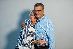 Ivo Carman, Slovenian Olympic torch bearer, with his wife Valerija; he competed at Winter Olympics in Lake Placid 1980 and in Sarajevo 1984, portrait made on August 13, 2020 in Sveti Duh, Skofja Loka, Slovenia. Photo by Vid Ponikvar / Sportida